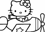 Coloriage Hello Kitty Avion